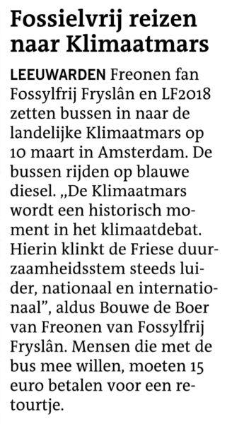 Fossielvrij reizen naar Klimaatmars Freonen fan Fossylfrij Fryslân