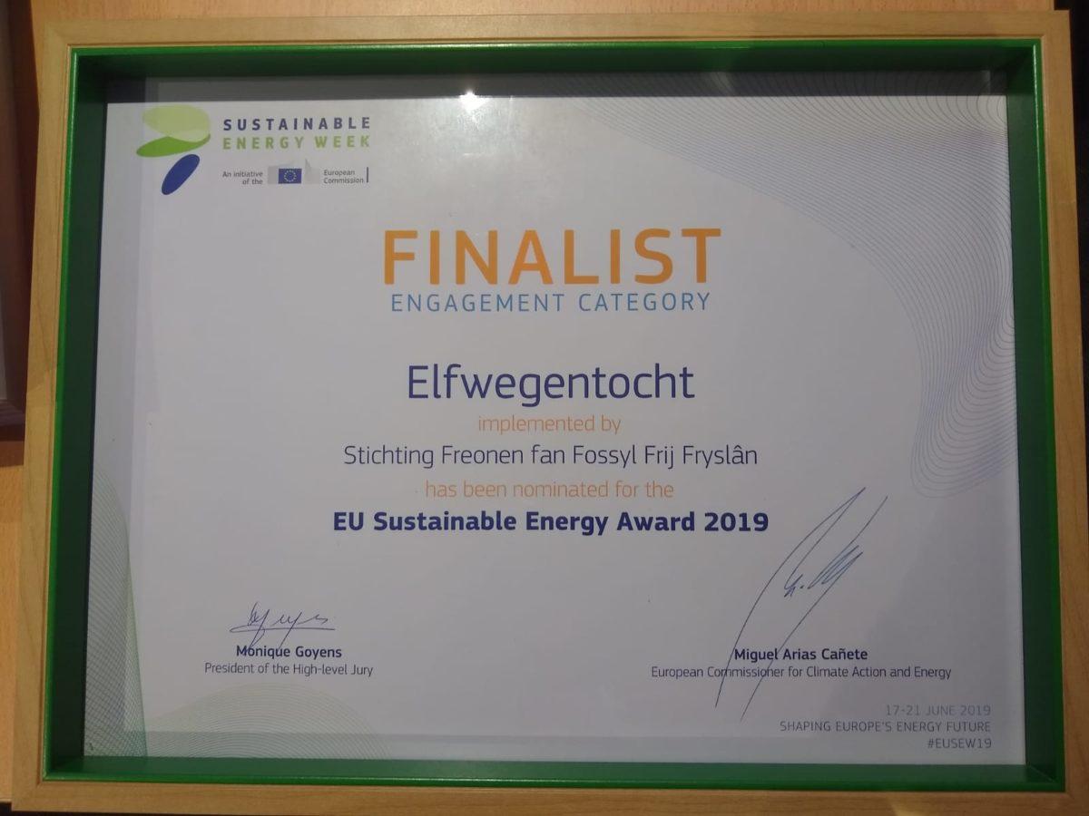 Elfwegentocht grijpt tweede plaats bij EU Sustainable Energy Awards