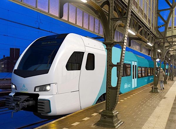 Treinen Arriva stappen over op blauwe diesel