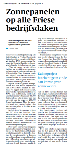 Zonnepanelen op alle Friese bedrijfsdaken