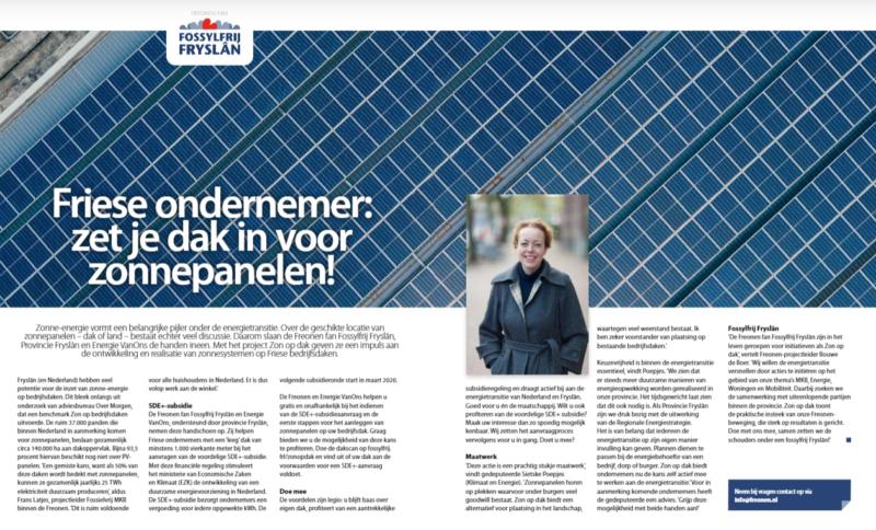 Decembereditie Ondernemend Friesland biedt volop aandacht aan Freonen fan Fossylfrij Fryslân