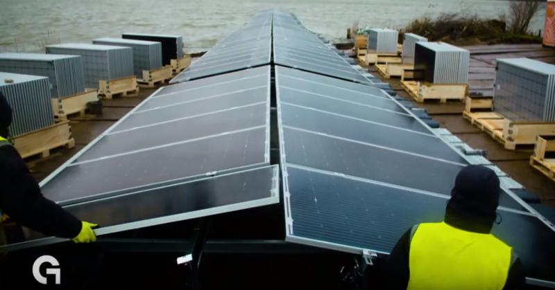 Bouw grootste drijvende zonnepark van Europa in volle gang