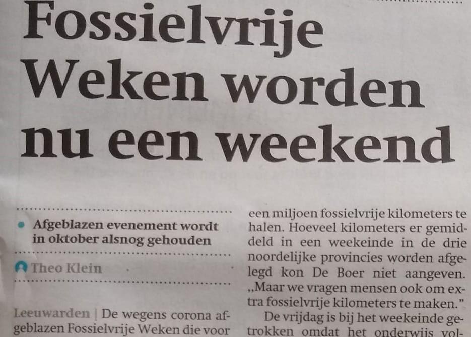 Aandacht voor Fossielvrij Weekend in Friese media