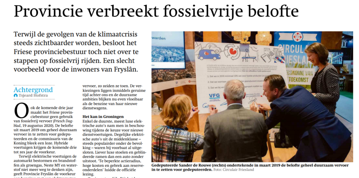 Forse kritiek op Fries provinciebestuur na verbreken fossielvrije belofte