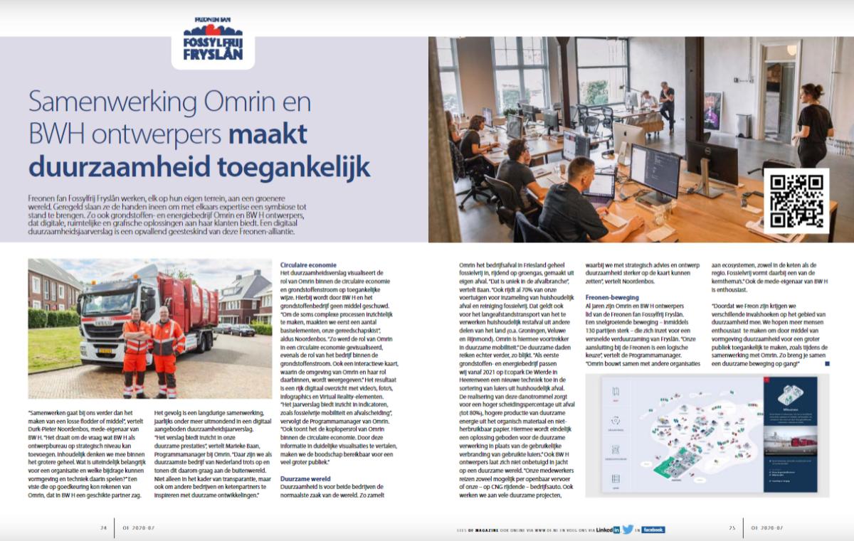 Groot artikel in Ondernemend Friesland over Freonen-samenwerking BW H ontwerpers en Omrin