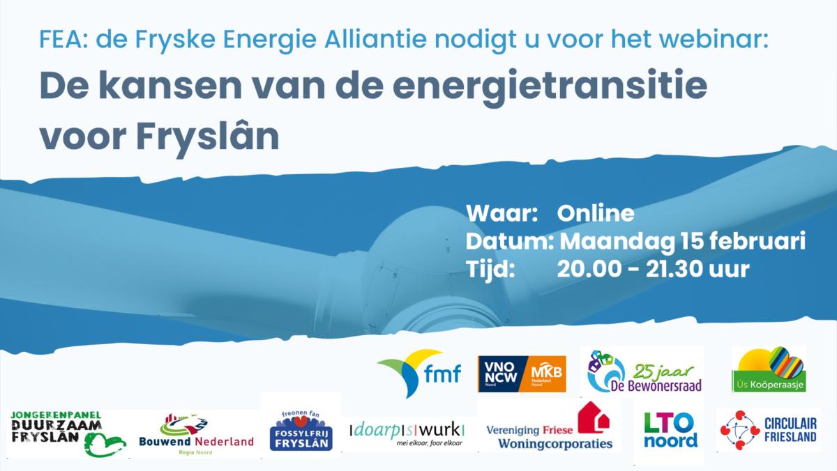 Fryske Energie Alliantie houdt webinar over Friese energietransitie op 15 februari