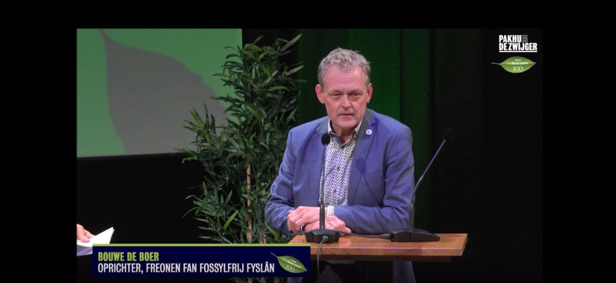 Video: Bouwe de Boer spreekt tijdens bekendmaking Duurzame 100